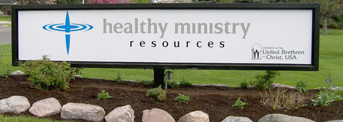 The new Healthy Ministry Resources sign.