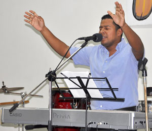David Raudales, director of the Bethel Band, played in worship teams throughout the week of General Conference.