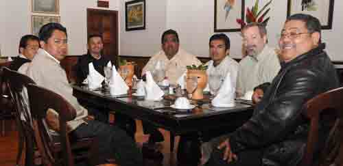 Francisco Raudales (far right) with Jeff Dice, UB nontraditional missionary currently studying Spanish in Costa Rica. The rest of the men at the table are from several different Central American countries.