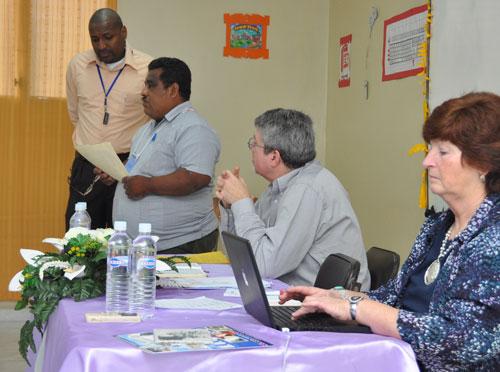 L-r: Translator Orville Brown, Supt. Juan Pavon Pavon of Nicaragua, Brian Magnus, Donna Hollopeter.