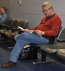 Phil Whipple waiting for the flight to Fort Wayne.