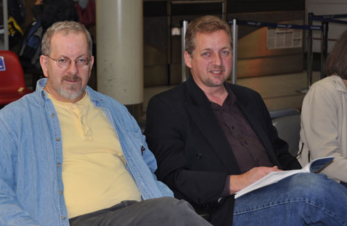 Steve Dennie (left) and Jeff Bleijerveld waiting for the flight to Fort Wayne...home,