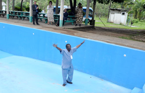 Billy Simbo, bishop of Sierra Leone Conference, demonstrates the fine art of walking on water.