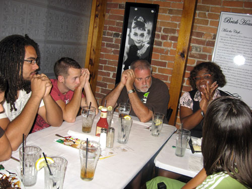 Students in the Huntington University Youth Ministry Leadership program meet at the Brick House Grill in Huntington.