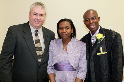 Bishop Phil Whipple with Linton and Michelle Thomas of First UB in the Bronx.