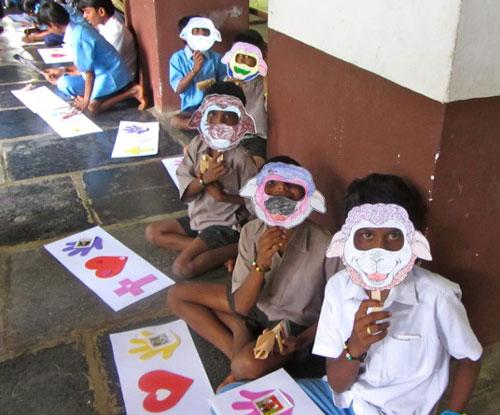 Craft activities for children at an Asian schiool.
