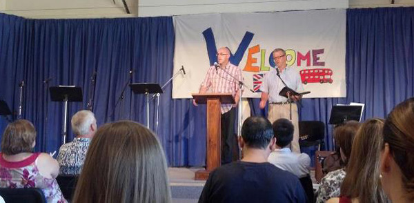 Todd Fetters, pastor of Devonshire UB church in Harrisburg, Pa., preaching at the Camarma church.