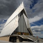 The front of the Air Force Academy Chapel
