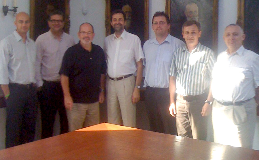 Ron Anderson (third from left) with members of the Baptist Union of Hungary. The Baptist Union president, Janos Papp, is in the middle.