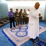 In the Muslim prayer room.