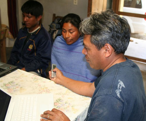 A recording session in Mexico among an indigenous group of oral learners.