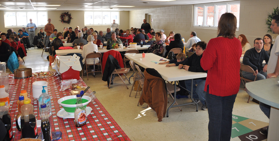 The annual pancake breakfast is held in the fellowship hall.