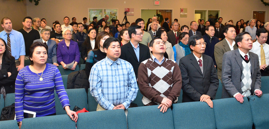 The congregation on Grand Opening Sunday for the Vietnamese church.