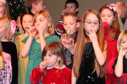 Children performing in the Christmas Bash.
