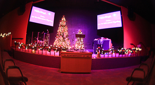 The Mount Zion sanctuary on Christmas Eve.