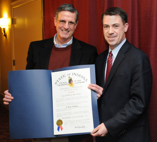 Sen. Jim Banks (right) presenting the Sagamore of the Wabash award to Dr. G. Blair Dowden on January 25 during a special luncheon with the Huntington's Board of Trustees.