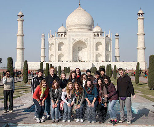 The January 2013 Huntington University group at India's Taj Mahal.