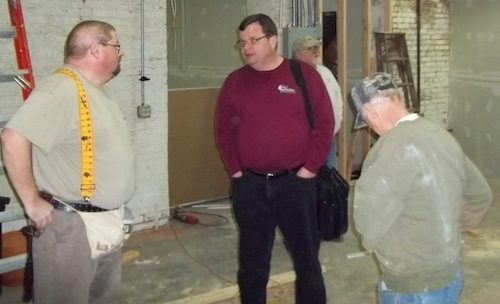 Jim Bolich (left) talking with Jeff Eagen, Executive Director of Joy of Living Ministries.