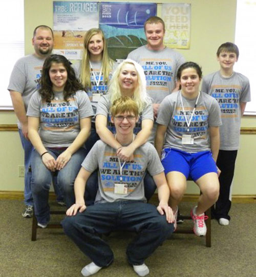 Members of the Shepherd of the Valley youth group who participated in the 30-hour famine to help end world hunger. Front: William Holbrook. Second row, from left: Cathy Burcham, Cassie Lieser, and Christy Burcham. Back row — from left: youth leader Jason Sheets, Ambir Myers, Derek Montgomery and Bo Myers.