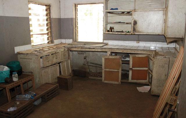 The kitchen in disrepair.