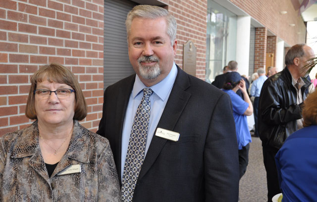 Bishop Phil and Sandy Whipple at a Huntington University reception for Dr. Sherilyn Emberton.