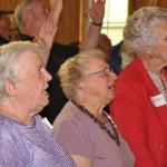 Three former Sierra Leone missionaries at Grace church (l-r): Audrey Federlein, Kathy Jones, and Shirley Fretz.