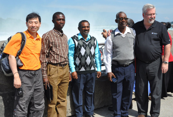 At the falls (l-r): Daniel Ko (Hong Kong), John Pessima (Sierra Leone), Winston Smith (Jamaica), Isaac Nugent (Jamaica), Phil Whipple (USA).