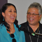 Damaris Canales of Honduras (with Jorge Botero) brought greetings to the Mill Crossing congregation in English.