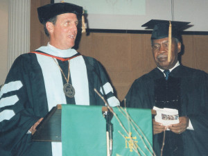 In 2001, Dr. Dowden bestowed an honorary doctorate on Lloyd Spencer (right), longtime pastor/superintendent in Jamaica Conference.