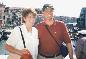 The Dowdens in Venice, Italy, in 2000 during an alumni tour of Europe which began with the Oberammergau Passion Play.