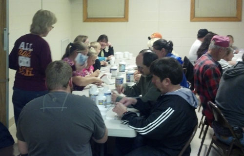Packing vitamins at Jerusalem Chapel for the Honduras Medical Team.