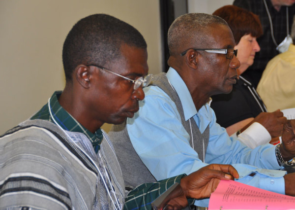 Bishops John Pessima (Sierra Leone, left) and Isaac Nugent (Jamaica).