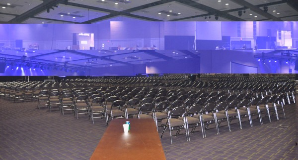 The main ballroom, where services will be held. About 1150 chairs are set up.