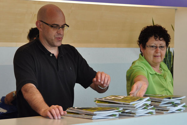 Todd Fetters and Jane Seely on the goody bad assembly line.