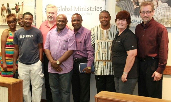 L-r: Kona Musa, Sam King, Mikaile Mambu, Bishop Phil Whipple, Joe Abu, Emmanuel Farma, James Kabangai, Donna Hollopeter, and Jeff Bleijerveld.
