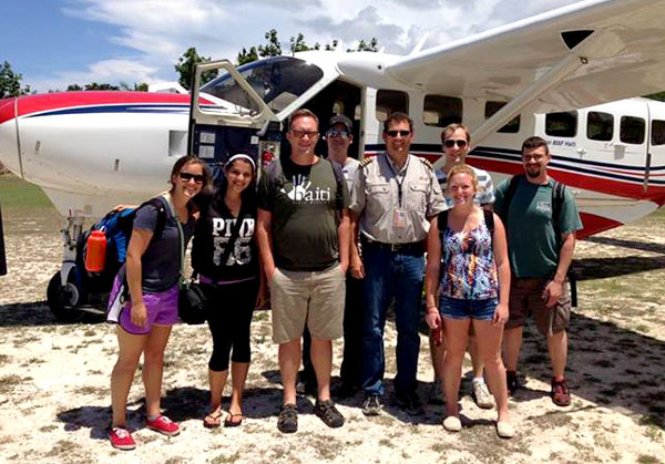 The ReNew team arrives in Haiti. Senior pastor Andy Sikorra is third from the left.
