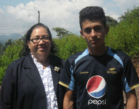 Juanita Chavez and a Honduran young man.