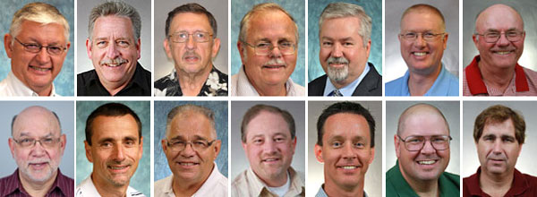Top row (l-r). The four out-going members: Lee Rhodes, Dennis Sites, David Burkett, Chuck Wheatley. Continuing members: Phil Whipple, Chris Little, Terry Smith. Bottom row. Continuing members: Bob Bruce, Craig Burkholder. New members: Gary Gates, Mark Wilson, Randy Carpenter, Jim Bolich, Mike Brown.