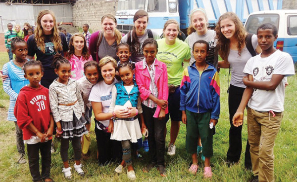 Members of the HU women's volleyball team in Ethiopia.