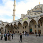 At the Blue Mosque in Istanbul.