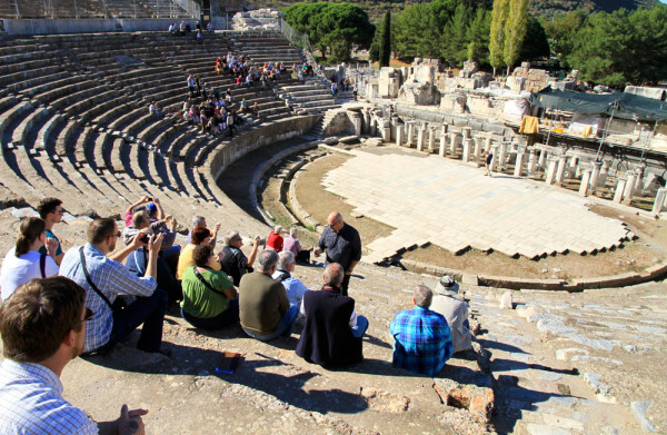 In the Ephesus amphitheater.