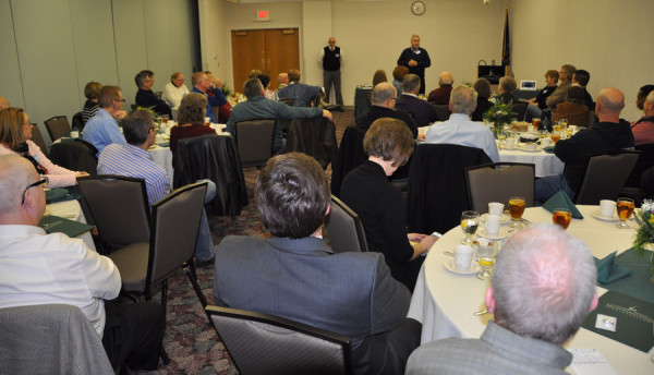 Bishop Phil Whipple speaking to the cluster leaders and guests on Monday night.