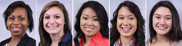 The Horizon Scholarship recipients. L-r: Allison Amstutz, Jessica Bombino, Leah Ness, Hannah Priskorn, and Selina Poh.