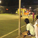 The soccer players played a night-time six-on-six game.