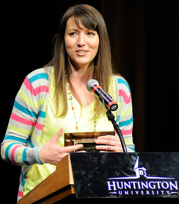 Amy Biegel accepting her award as Professor of the Year during Forester Night on May 6.