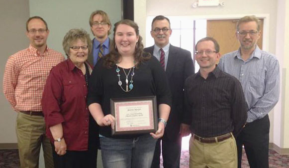L-r: David Kline (associate director of Global Ministries), Ruth Ann Price (HU Missionary in Residence), Bo Helmich (HU assistant professor of Worship Leadership), Janessa Macejak, Luke Fetters (professor of Ministry & Missions), Tom Berglar (HU professor of Ministry  Missions), and Jeff Bleijerveld (director of Global Ministries).