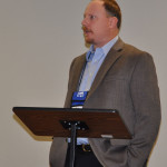 """Michael Mattox, pastor of New Life UB church in Chanute, Kansas, came the furthest. Here he is giving his """"Because of Jesus...."""" testimony."""