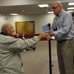 Todd Fetters presents one of the many prizes to Harold Myers, pastor of the UB church in Harrisonburg, Va.