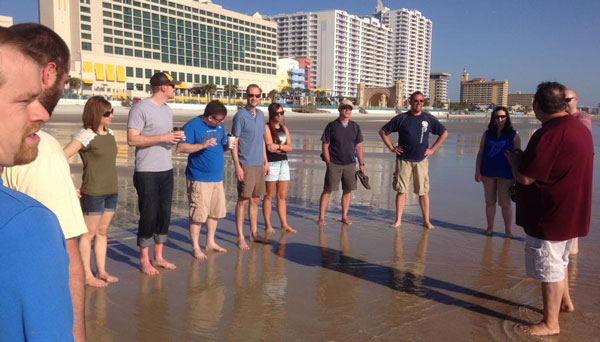 The Worship Summit attendees on the beach.