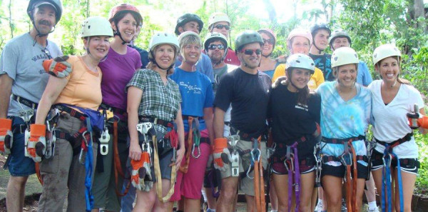 The team found time for some zip-lining.